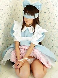 Kana Moriyama Asian looks like princess in white and black lace