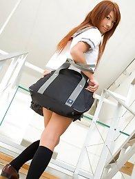 Mai Hoshino Asian in school uniform shows ass under short skirt