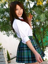 Mahiro Aine Asian in uniform gets out of home and takes thong off