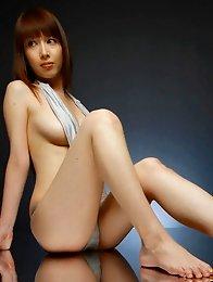 Sexy amasing japan girl Emi Kobayashi in a tight red leather bikini