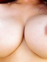 Big boobs japanese girl Megu Fujiura shows her hairy pussy