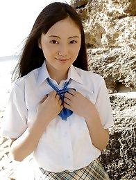 Miyuu Sawai cute Asian schoolgirl in her pleated miniskirt