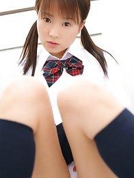 Kana Moriyama Asian in uniform bends and shows ass in thong