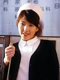 Cute japanese Erika Satoh in stewardess uniform stripped and masturbate