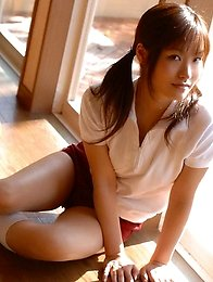 Japanese beauty teen Nao Ayukawa in red shorts