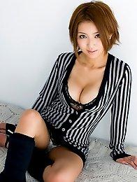 Redhead elegant japanese Kazuki Asou shows beauty tits
