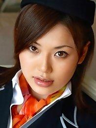Sexy japanese stewardess Yui Matsuno in pantyhose stripped naked