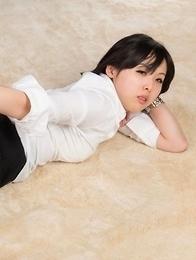 Office beauty Natsuki Yokoyama takes off her heels to jerk this dude's cock