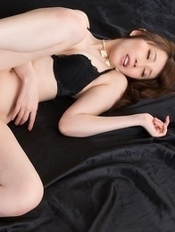 Lingerie-clad hottie with a body Aya Kisaki gets foot-fucked by a guy