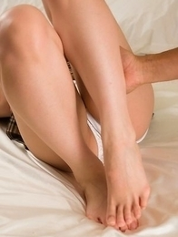Tickled cutie Reo Saionji gets horny enough to let this dude fuck her hot feet