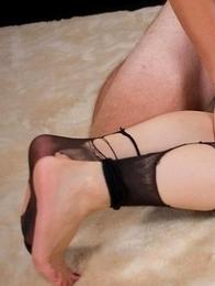 Pantyhose-clad babe Shizuka Maeshiro getting her legs fucked in a hot gallery