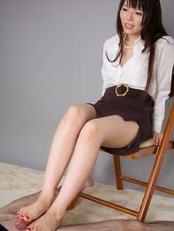 White panties babe Yuma Miyazaki jerks a dude's dick with her perfect feet
