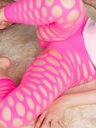 Pink pantyhose brunette Yuma Miyazaki gets her legs and toes fucked on camera