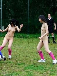Amazing naked soccer playing babes