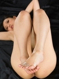 Natsuki Yokoyama showing off her hot legs and feet after a very hot cumshot