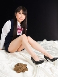 Seductive schoolgirl in pantyhose Minami Sakaida using a vibrator to cum