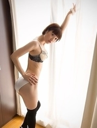 Mizuki is ready to take off her lingerie, but not her knee-high black socks