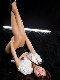 Stunner in a skirt Ruru Sakurai showing her body in a fingering/pantyhose gallery
