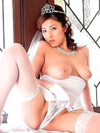 Asian bride Meisa Hanai is slowly undressing on cam