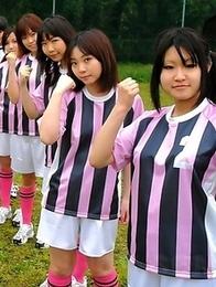 Soccer girls posing totally naked