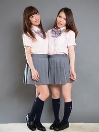 Teenage girlfriends Nishino Ena and Momoi Momo using their feet for his pleasure