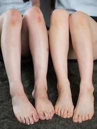 Mai Araki and Yui Kawagoe show off their feet and give a guy a great footjob