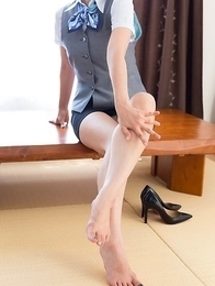 Uniform-wearing beauty Katou Tsubaki shows her delightful blue toes on camera