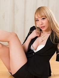 Black lingerie babe Airi Mashiro humiliating a kinky older guy in an FF gallery