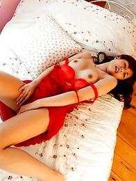 Hot-shaped Asian mademoiselle Rina Rukawa gets naked on cam