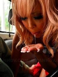 Raina Ogami gives a fine blowjob