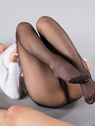 Chie Kobayashi using her sexy red toes to make this guy cum all over her feet