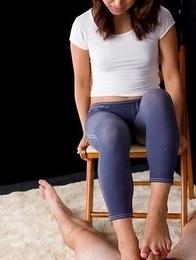 Misato Kagawa wearing tights before stripping naked to tease him post orgasm