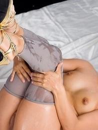 Oily stunner Misato Kagawa spreads her legs and masturbates a lot on cam