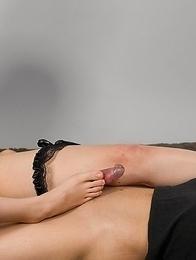 Corset-clad domme Natsuki Yokoyama uses her perfect feet to get him off