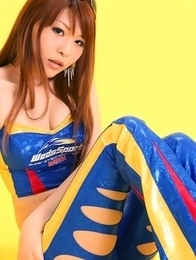 Minami Haduki busty is hot cupcake in blue latex outfit