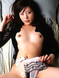 Petite Asian Rin Sakuragi demonstrates her hairy snatch