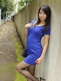 Asian Chihiro Kitagawa poses in dress outdoor