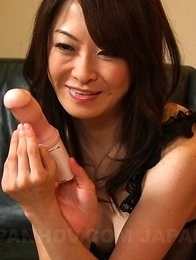 Machimura Sayoko sucks fake dildo and fucks
