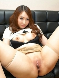 Nasty Asian Akari Niiyama shows shaved pussy