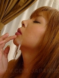 Hot Hina Mitsuki in sexy lingerie sucks cock