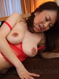 Machimura Sayoko gets toys, dong and cum