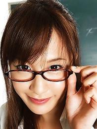 Elegant Japanese Kotomi Nagisa is posing as a lusty teacher