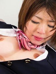Office girl Aoi Kurihara gets a new office job where she just sits in the corner and takes dicks stuffed into her mouth.