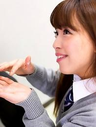 Schoolgirl from japan Nishino Ena suck cock and masturbate