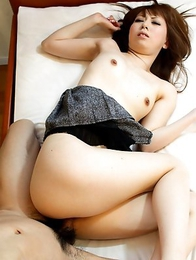 Rin Yazawa bares her clothes to show us her cute butt and deep throats our stunt cock