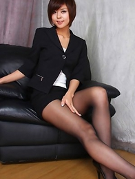Japanese Miho Kotosaki  shows sexy legs in short skirt and on heels