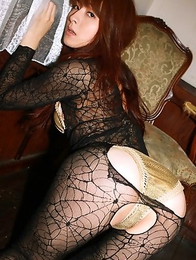 Rika Kawamura has lace spider jumpsuit ripped and shows ass