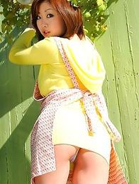 Rio Hamasaki shows big nude boobs and rubs pussy outdoor