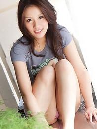 Rinka Aiuchi shows big nude jugs and slit with haircut