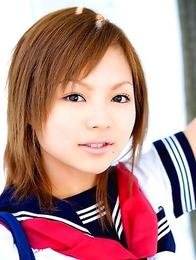 Runa Hamakawa plays with her uniform skirt after classes